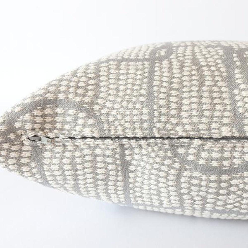Pointillism, Zinc gray and cream abstract pillow