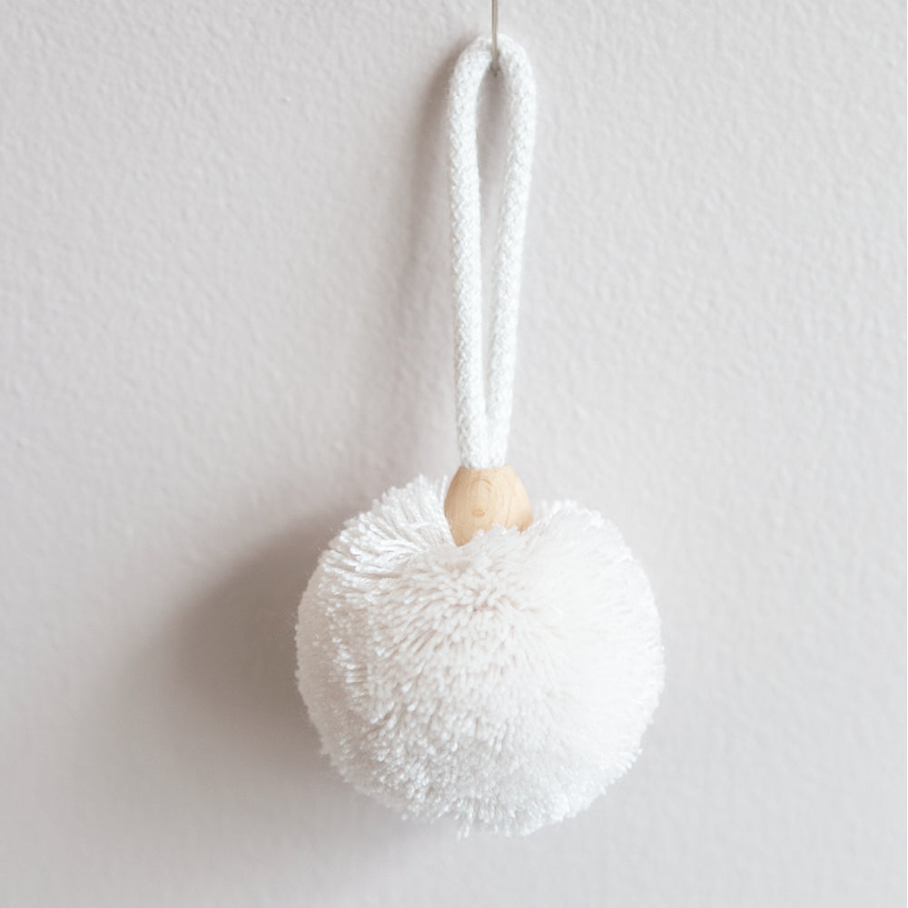 White beaded pom pom tassel