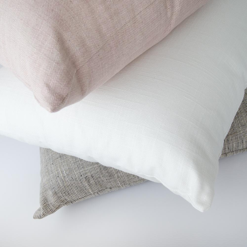 neutral, white and pink pillow combo Tonic Living