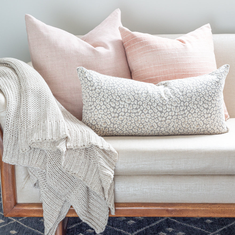 Pretty pink and taupe gray leopard pillow combo from Tonic Living