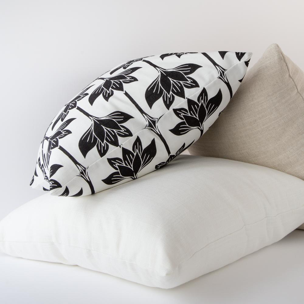 Alba, a black and white graphic lotus print pillow from Tonic Living