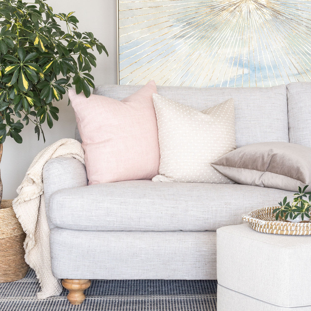 soft pink and beige sofa pillows