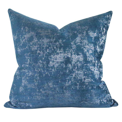 Reggio Velvet, Peacock - A textured velvet pillow with a herringbone pattern.
