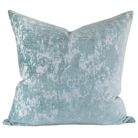 Reggio Velvet, Tiffany - A textured velvet pillow with a herringbone pattern.