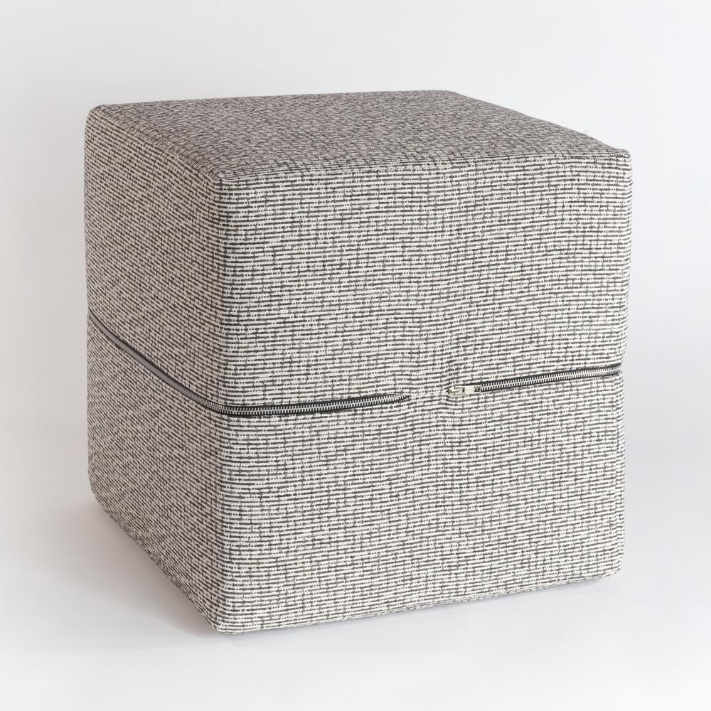 Renton Pavement, a black, grey and white high performance cube ottoman from Tonic Living