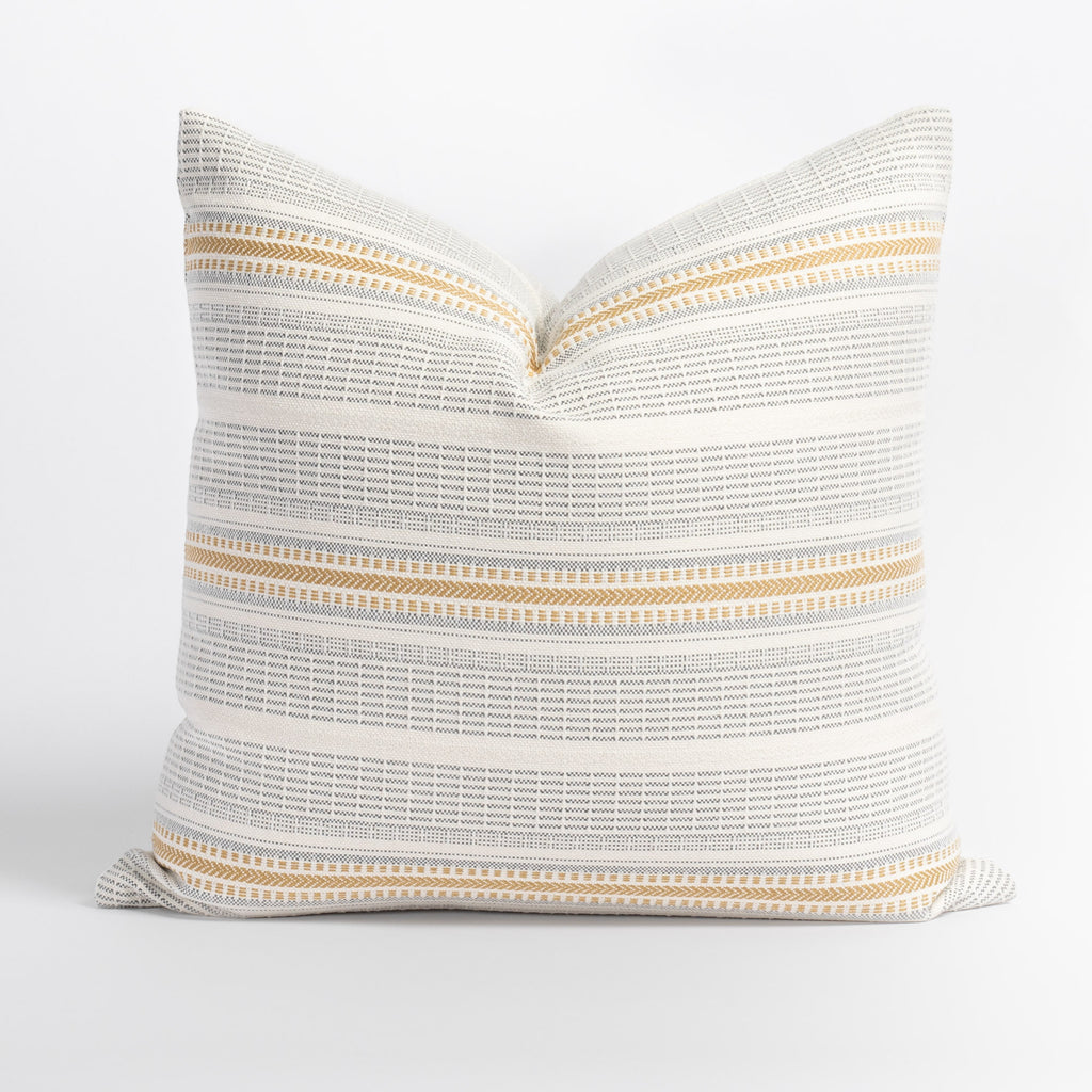 Rhodes Canary, a yellow and grey striped indoor outdoor pillow from Tonic Living