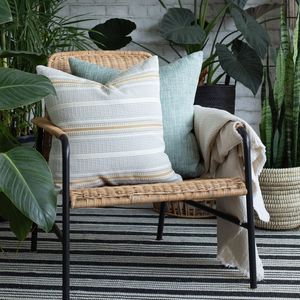 Home decor vignette: Rhodes Canary and Felix Pool indoor outdoor pillows