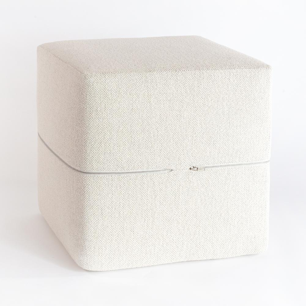 Ridgley Cream high performance cube ottoman from Tonic Living