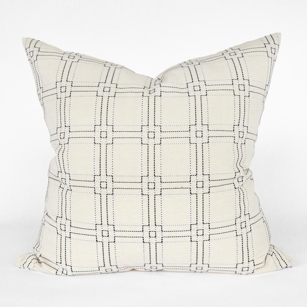 Rita, a black on cream square stitched pillow from Tonic Living