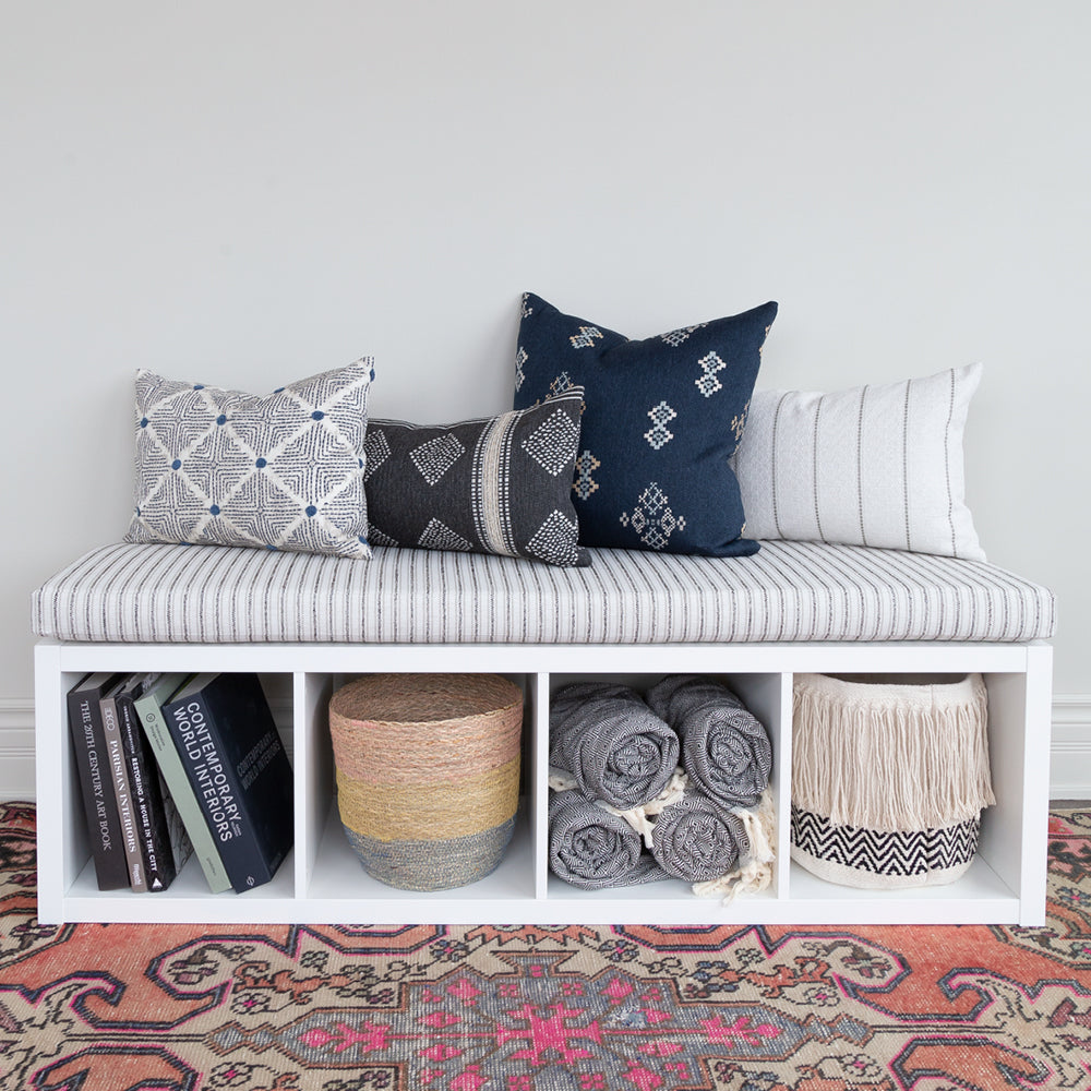 Rodin Stripe Foam Bench Cushion Natural Ikea Hack Kallax Shelf