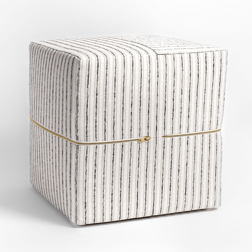 Rodin Stripe Cube Ottoman, Natural