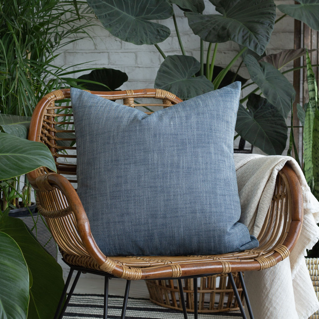 Indoor outdoor vignette: Ryder indigo blue outdoor pillow