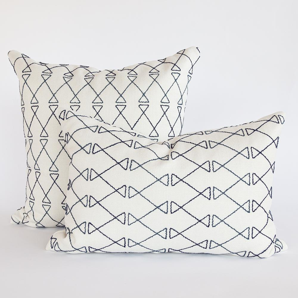 Santo indigo blue embroidery on ivory pillow from Tonic Living