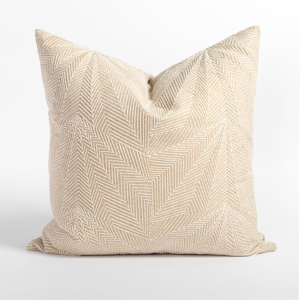 Sardee geometric embroidery beige throw pillow from Tonic Living