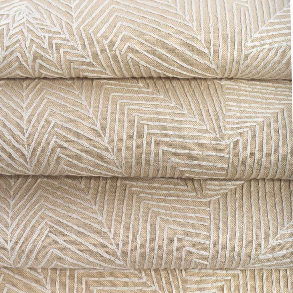 tonal geometric pattern embroidery beige fabric