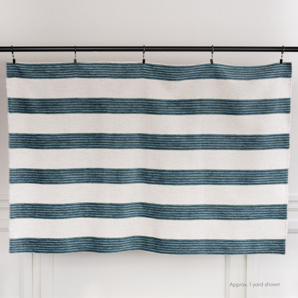 blue green and cream chenille stripe home decor fabric from Tonic Living