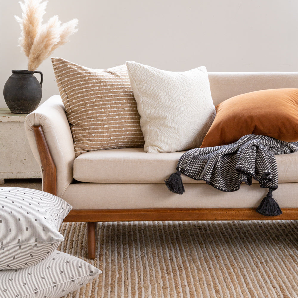 Burlap, cream and cognac brown pillow combo from Tonic Living