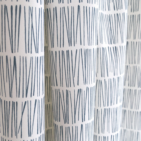 Shelby Fabric, Bluegrass, navy blue and white modern matchstick print