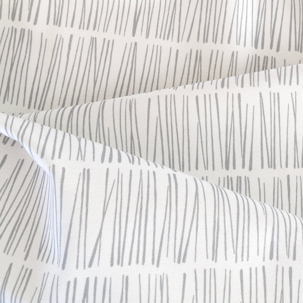 Shelby Fabric, Stone, gray and white modern matchstick print from Tonic Living