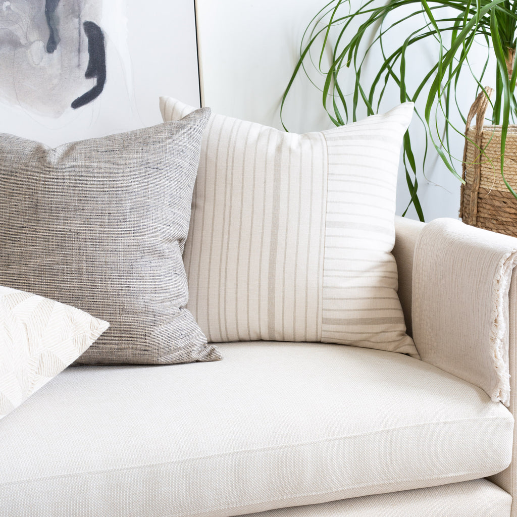 Cream sofa pillow combination : Shoreline stripe and stanhope ash pillows