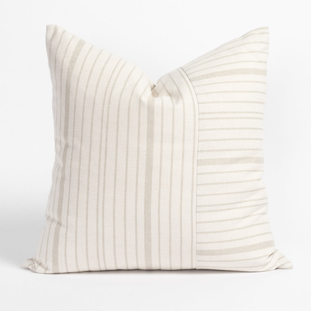 Shoreline taupe and cream stripe performance pillow from Tonic Living