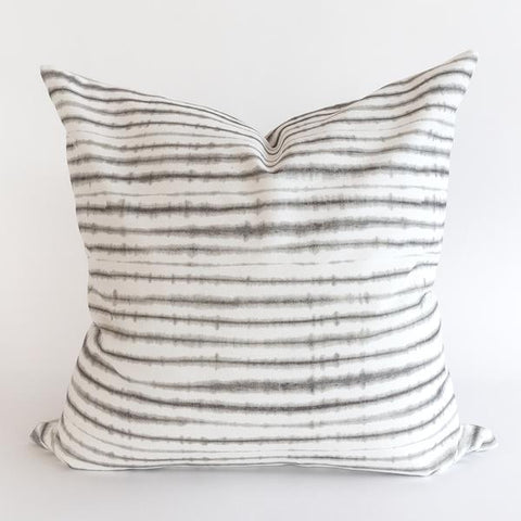 Slater white and gray shibori pillow with reversible gray back from Tonic Living