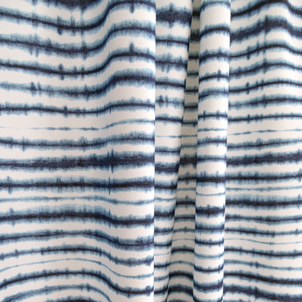 Sonora, Indigo Shibori stripe fabric in white and blue