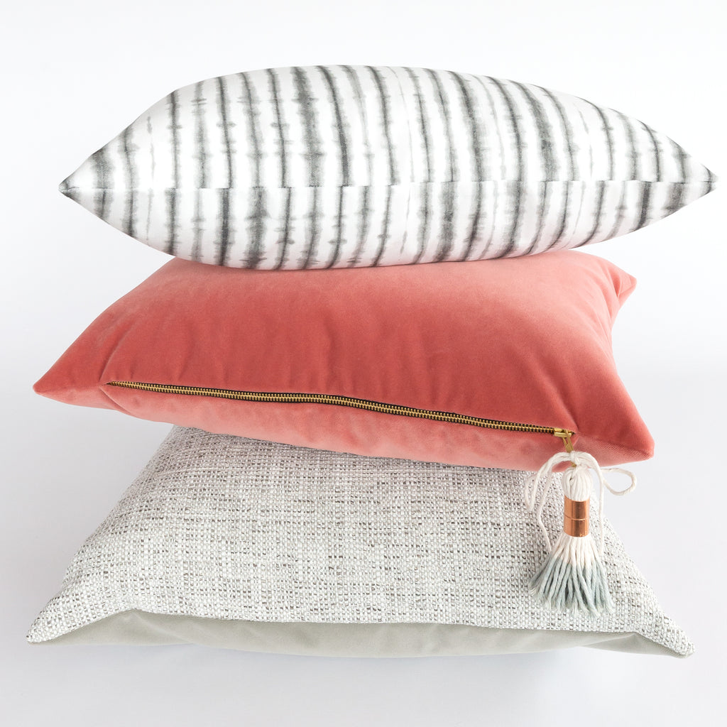 Sonora stone shibori stripe Lumbar Pillow at Tonic Living