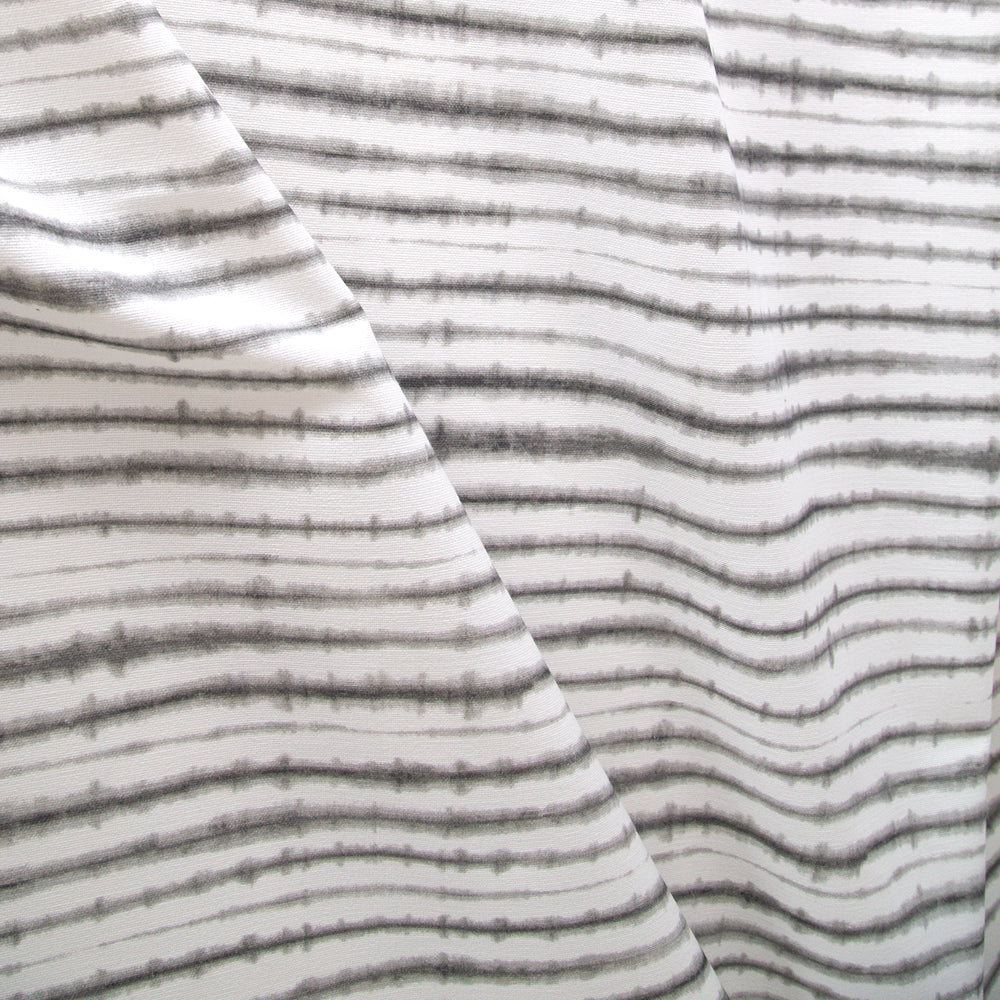 Sonora, Stone Shibori stripe neutral fabric in white and grey