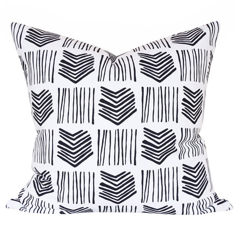 "Stacks, Domino - A graphic, line drawn black and white pillow in 20"" x 20""."