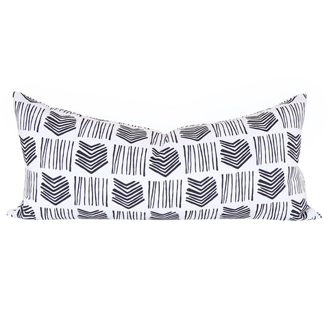"Stacks, Domino - A graphic, line drawn black and white pillow in 15"" x 32""."
