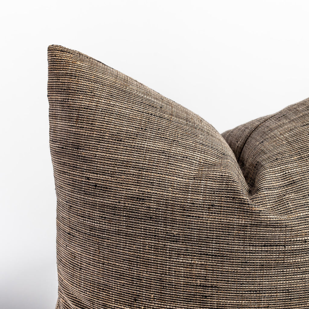 refined rustic brown black pillow detail