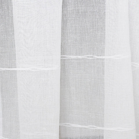 "An airy sheer fabric in a natural off white with horizontal slubbed stripes. This fabric is extra wide, measuring a width of 118"" selvage to selvage. #tonicliving"