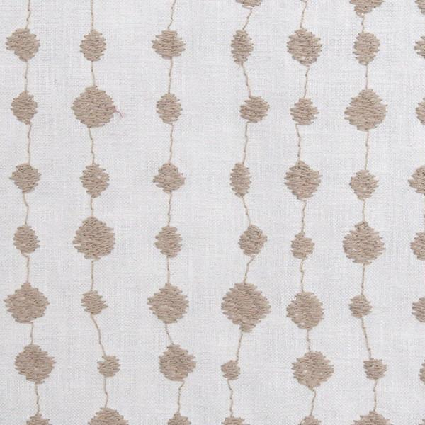 Strands Embroidery, Twine - An embroidered drapery fabric in a slubbed cream with a natural twine coloured stitch detail.
