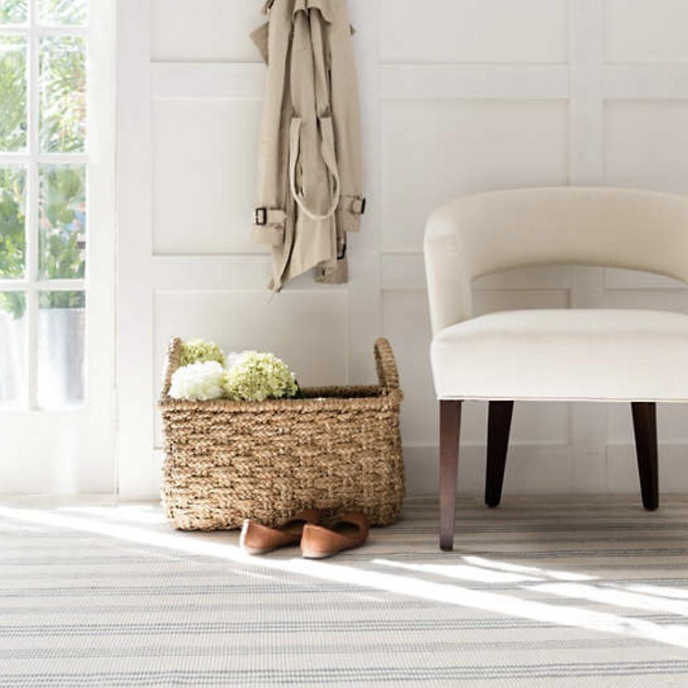 Swedish stripe, cream and soft blue stripe Dash and Albert rug available at Tonic Living