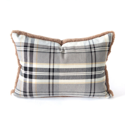 Tate - This classic plaid pillow has a dual personality with a super soft and playful faux fur side.