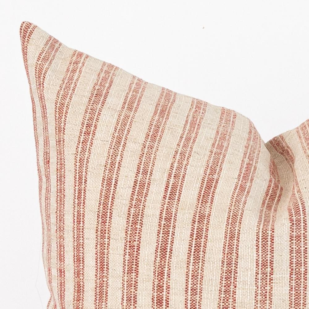 Thompson Ticking, Farmhouse Red and Cream Stripe Pillow from Tonic Living