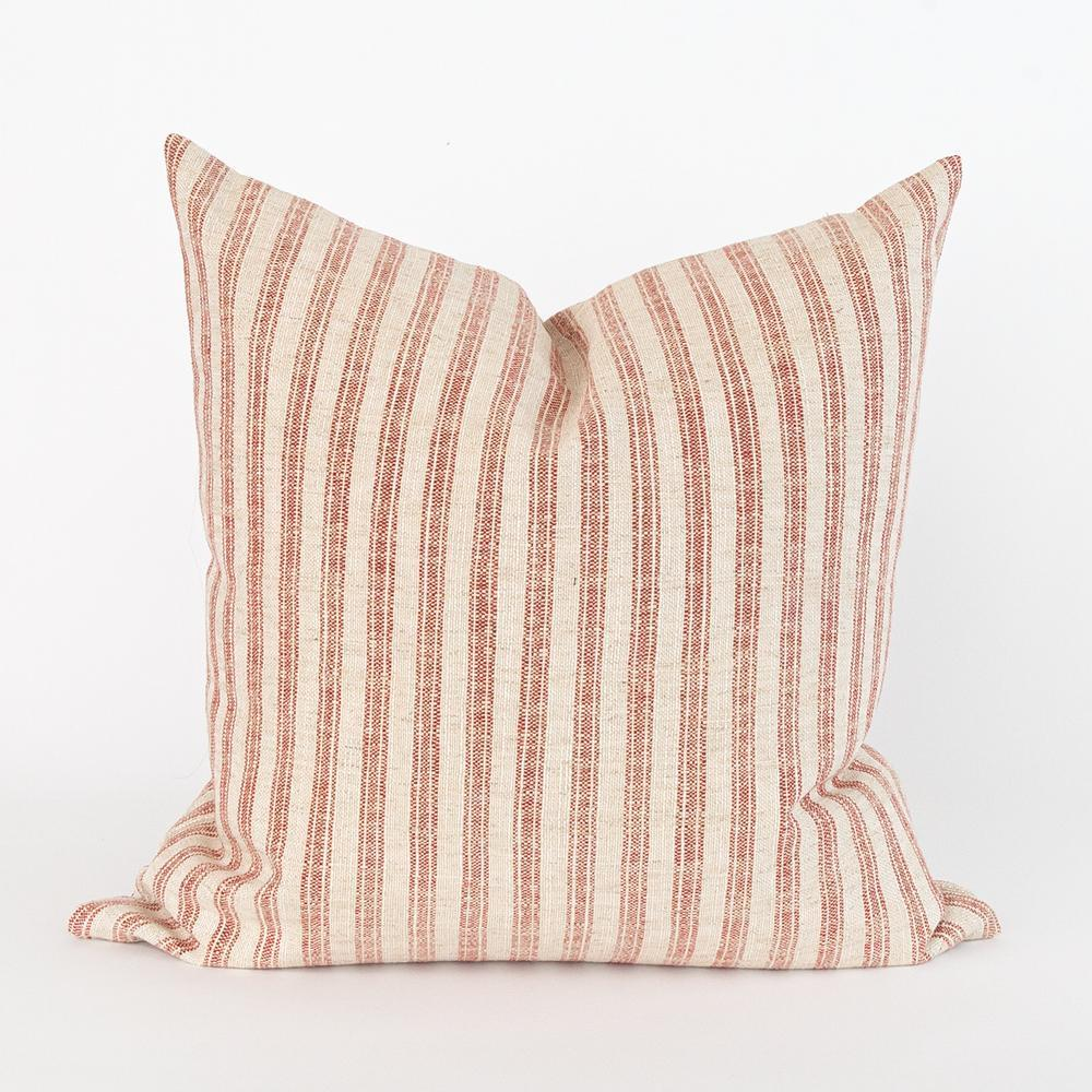 Thompson Ticking,rust red and cream stripe pillow from Tonic Living