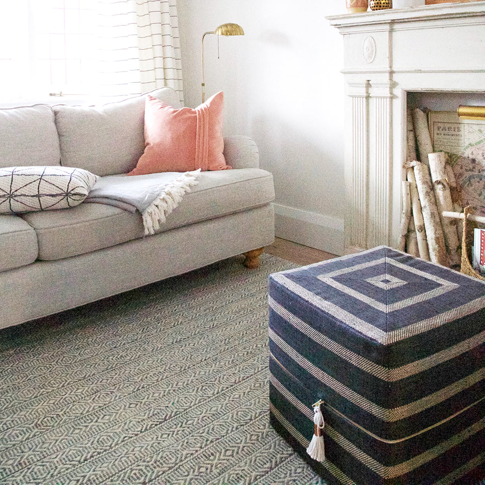 Ottoman Cube - Thornton Stripe, Pewter - [Product_type] - Tonic Living