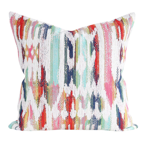 Tiffany, Multi - A multi-coloured boho inspired pillow in candy pink, turquoise, navy blue, grass green, saffron yellow and orange-red and cream.