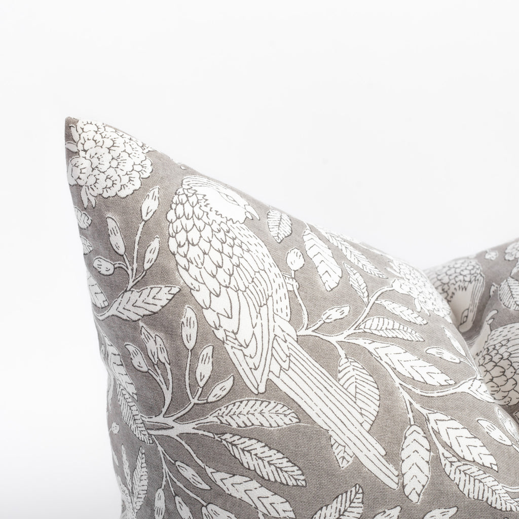Tippi gray and cream botanical print cotton pillow from Tonic Living