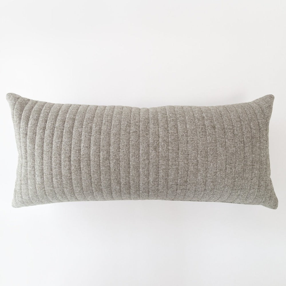 Tobermory Quilted Felt Extra Long Pillow, Flannel, a large lumbar in quilted gray felt from Tonic Living