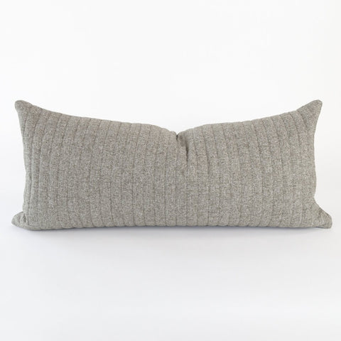 Tobermory Quilted Felt Extra Long Pillow, Flannel, a large lumbar in quilted gray flannel felt from Tonic Living