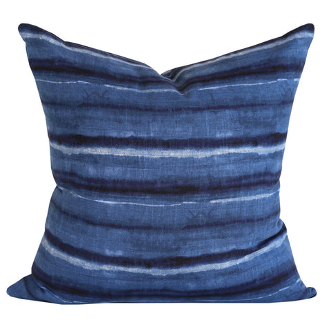 Tulane, Indigo - A gorgeous inky indigo blue pillow with horizontal organic stripes.