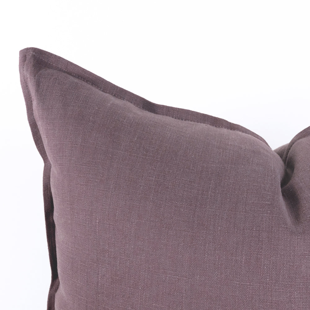 Tuscany Linen dusted plum purple pillow with flange detail from Tonic Livinp