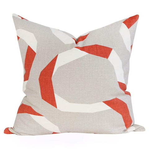 Vent Ribbon, Admiral - A large and open scale graphic pillow that is inspired by folded ribbons in persimmon orange, cream and light taupe.