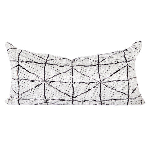 Vigo, Black + Cream (Lumbar) - A graphic black and creamy white lumbar pillow with a modern-tribal feel.
