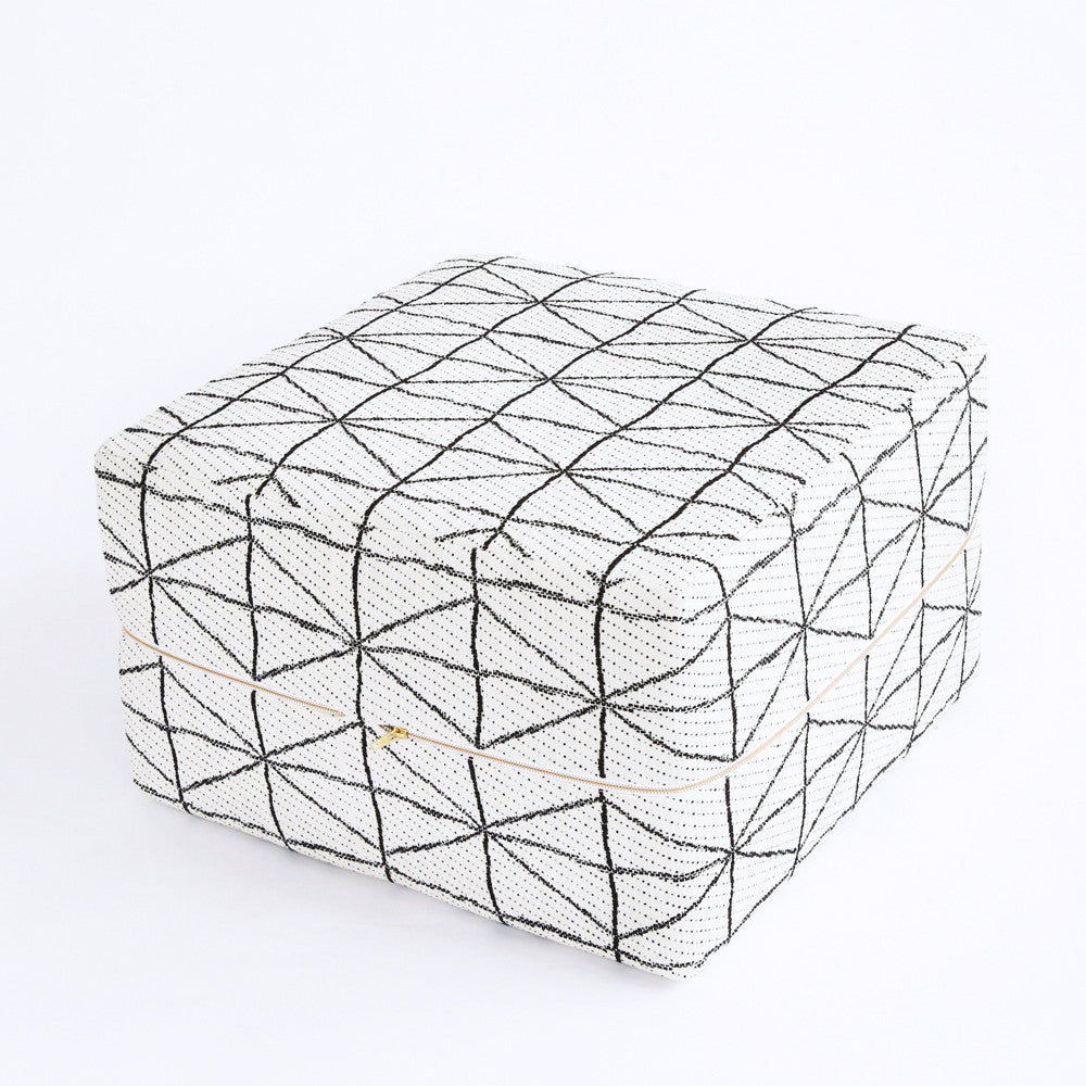 Ottoman Cube - Vigo, Black + White - [Product_type] - Tonic Living