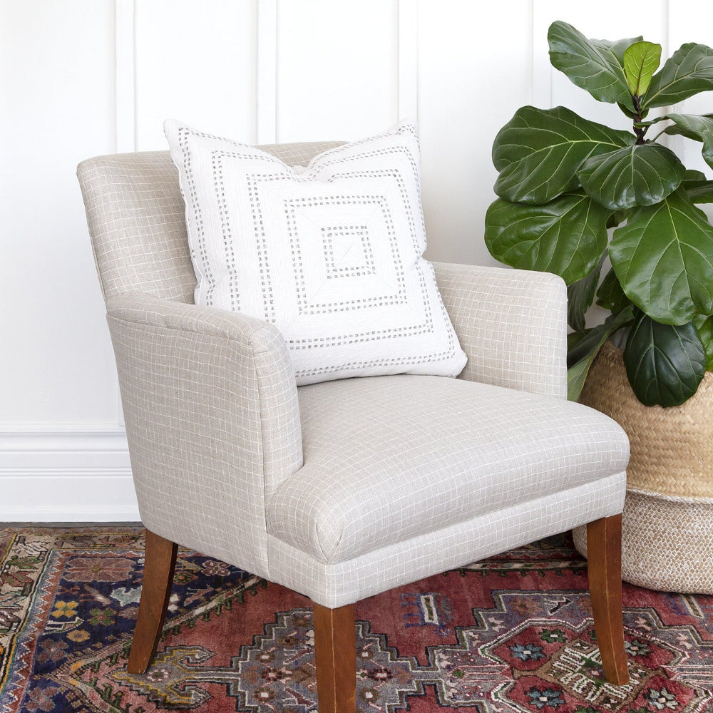 Windowpane beige linen chair from Tonic Living