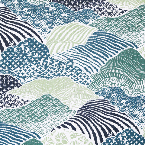 Japanese paper inspired fabric in indigo, teal, light olive green and emerald green @tonicliving #tonicliving